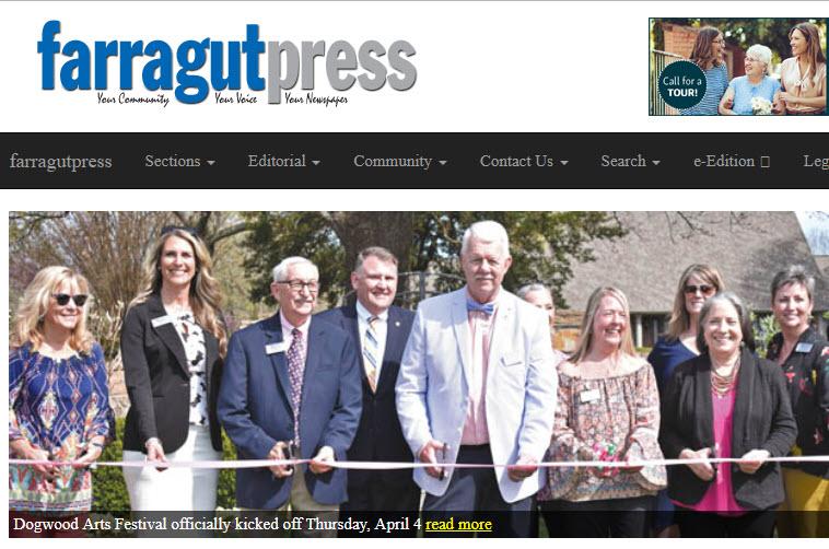 Image of Farragutpress.com home page on website
